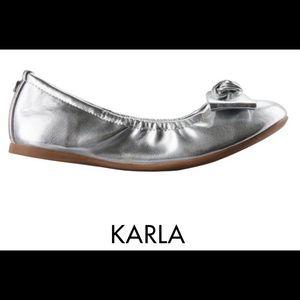 Nina Shoes - Nina Karla Ballet Flats, Girls Size 5, Silver, Bow